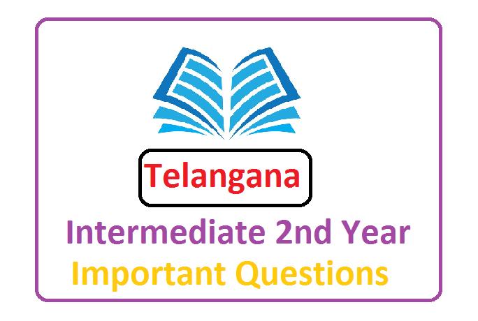 Telangana Sr Inter Important Question 2021, Telangana Inter 2nd Year Model Paper 2021