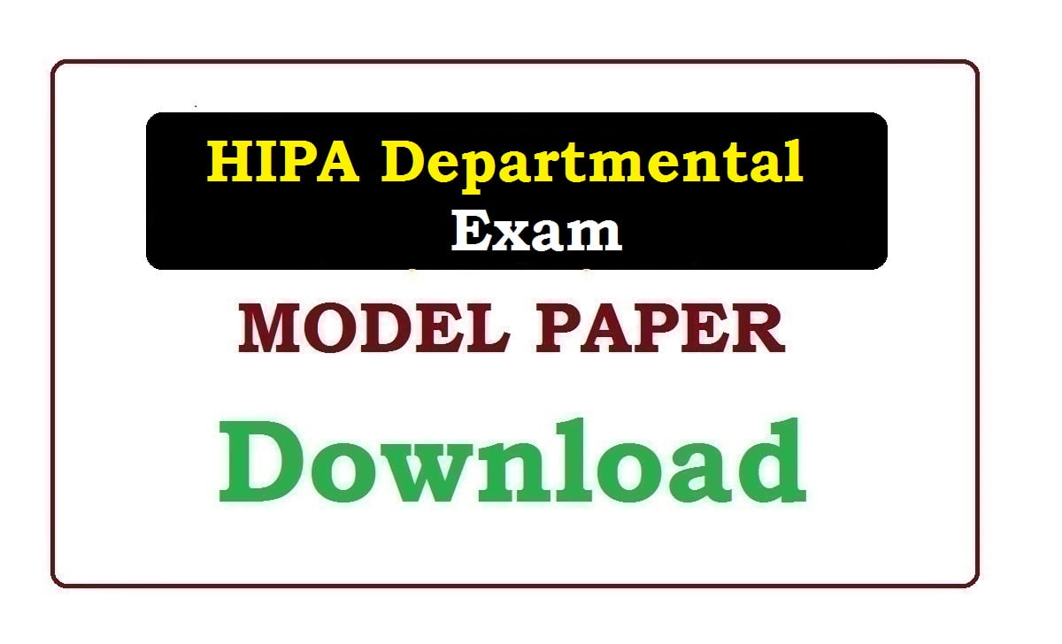 HIPA Departmental Exam Model Paper 2020